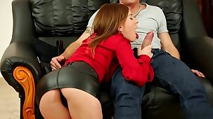 www.pornhdcam.com ..Beautiful Leony Aprill in Hot Leather Miniskirt  HD Porn