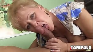 Mature Blonde Giving a Lovely Blowjob