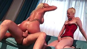 Two Mature Hot MILF Moms Empty the Balls and Share the Thick Cum Facials