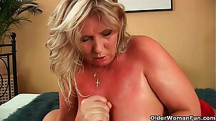 Big mature tits get a cum glazing