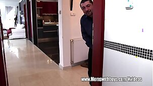 Spying Young Man Caught And Fucks Blonde Mature