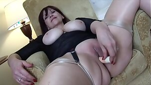 Big tits Mature babe teases and masturbates with her toy