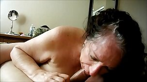 Brunette granny devouring a cock she found online