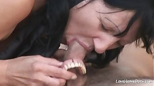 Granny is enjoying passionate fucking while outdoors