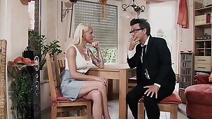 HITZEFREI Hot blonde MILF fucked on the kitchen table