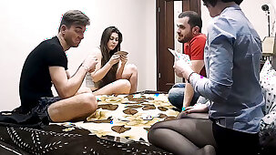 Amateur, Two Couples Play Strip Poker & Have Hardcore Action