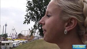 EVA ENGEL: Public Creampie with stranger at a Fun Fair